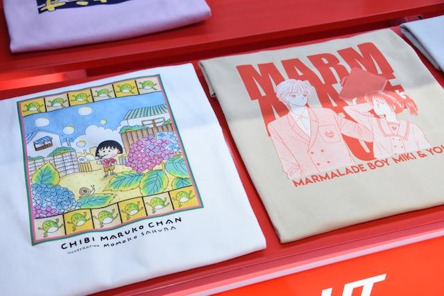 「マンガ UT りぼん 65周年」より、「ちびまる子ちゃん」コラボTシャツ(左)、「マーマレードボーイ」コラボTシャツ(右)。