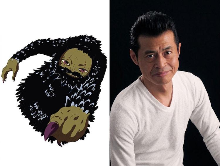 冥王ルアラリエの設定画と同キャラクターを演じる斉藤次郎。