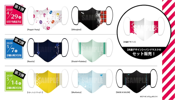 「BanG Dream!」オリジナル布製マスクの一覧。