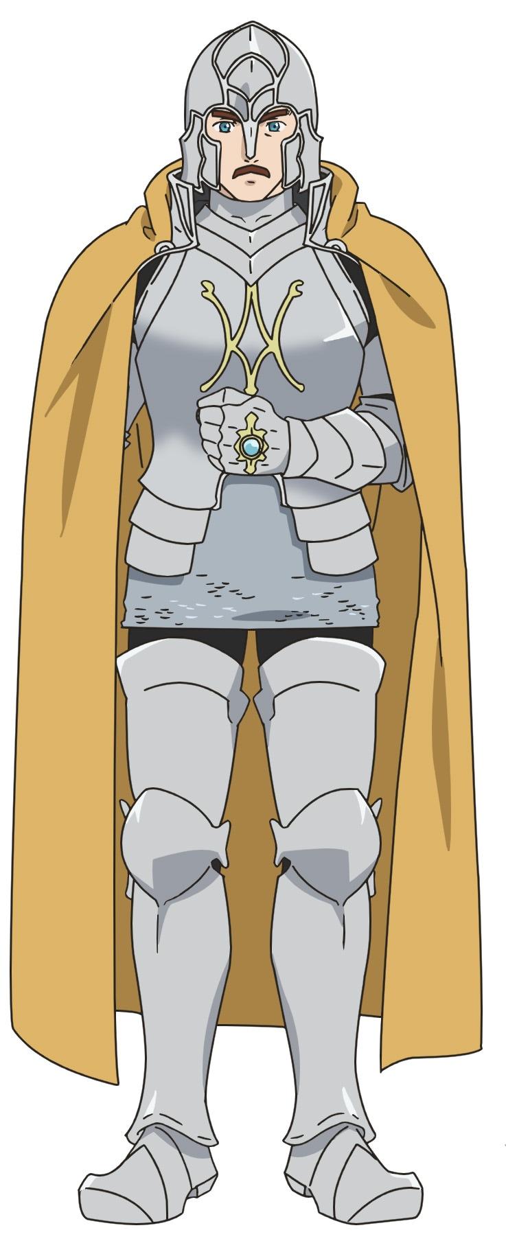 カルステッド(CV:森川智之)。エーレンフェストの騎士団長で領主の護衛騎士。領主一族の父を持つ上級貴族で、領主の従兄に当たる。トロンベ討伐で初めてマインと出会う。代々、脳筋の家系で筋肉がむきっとしたボディビルダー体型。顔に似合わず、笑い上戸。
