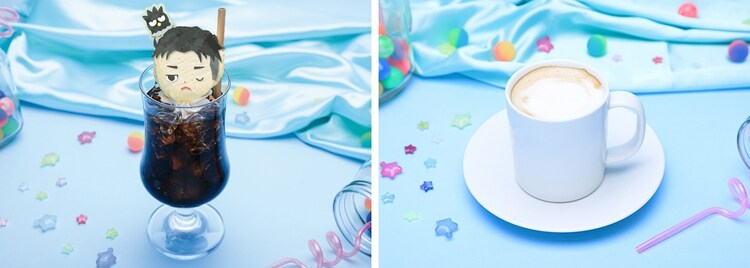 左からコーヒーフロート、カフェラテ。好きなキャラクターのアイスを選ぶことができる。