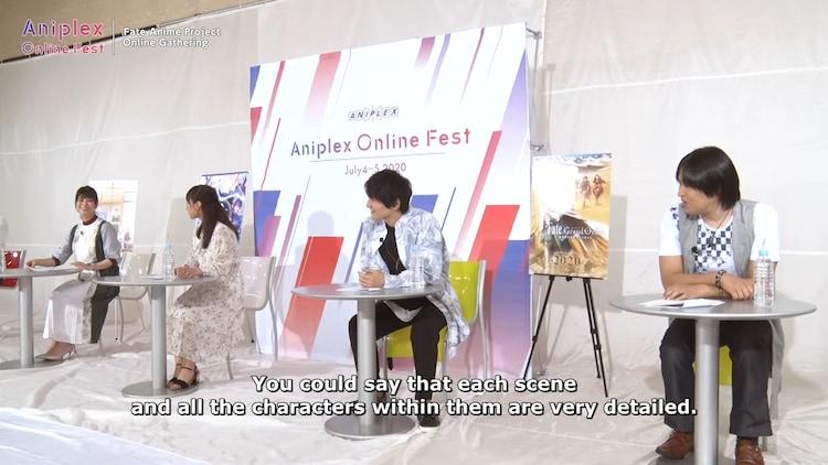 左から川澄綾子、下屋則子、島崎信長、鶴岡聡。