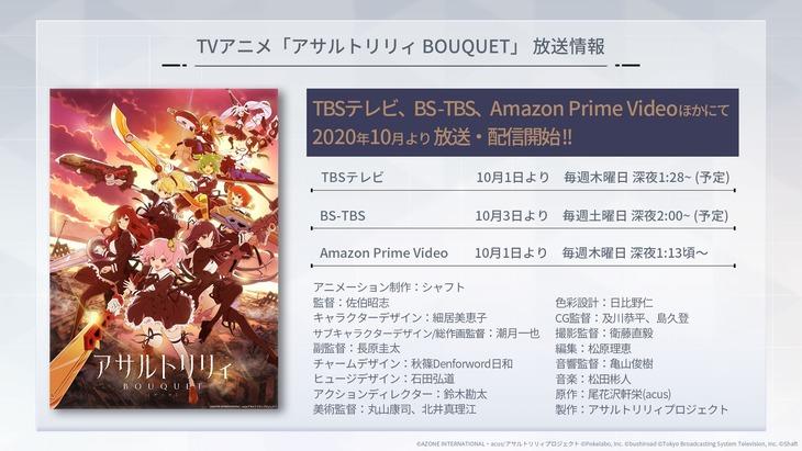 TVアニメ「アサルトリリィ BOUQUET」放送情報の詳細。