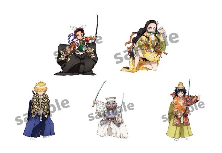 「源頼光と四天王」の衣装をまとった竈門炭治郎たち5人のイラスト。
