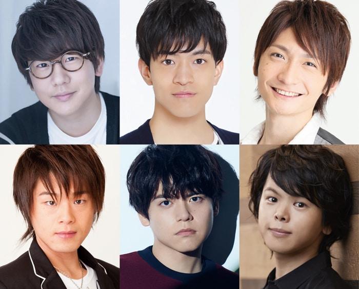 新6つ子のキャスト。左上から時計回りに花江夏樹、石川界人、島崎信長、村瀬歩、内田雄馬、松岡禎丞。