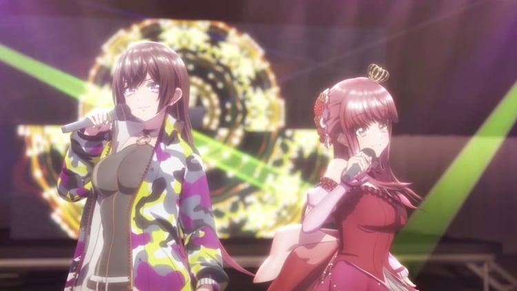 TVアニメ「D4DJ First Mix」第1話より。左からRaychell演じる姫神紗乃、水樹奈々演じる天野愛莉。