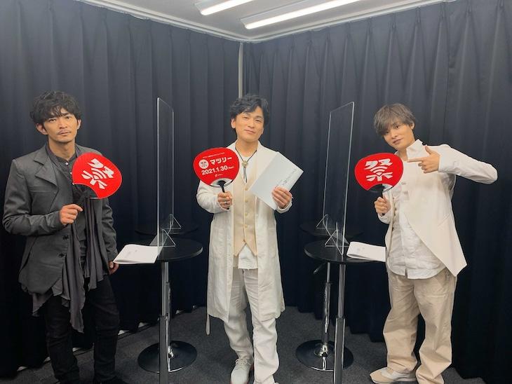左から津田健次郎、森田成一、岡本信彦。