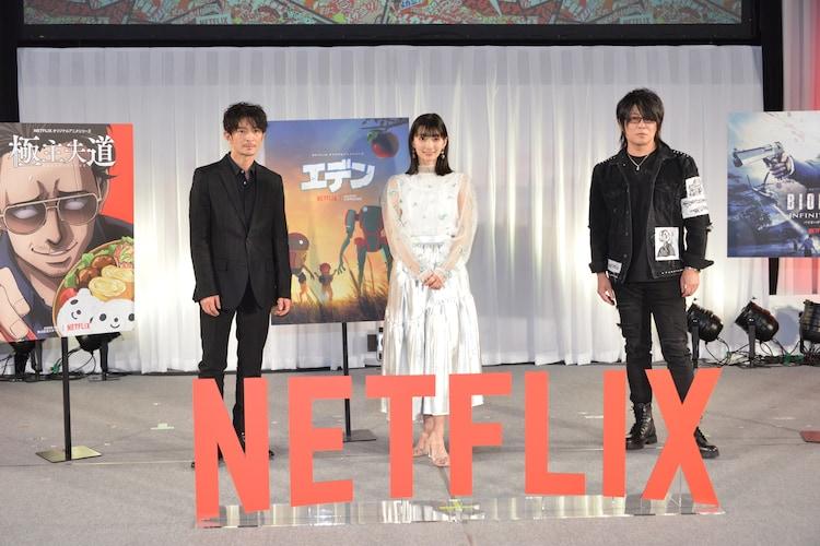 左から津田健次郎、高野麻里佳、森川智之。