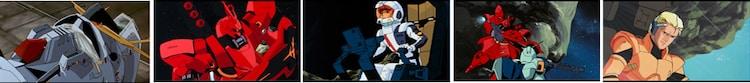 「ガンダム逆襲のシャア×アーモンドチョコレートパウチ」の裏面に使われている場面カット。