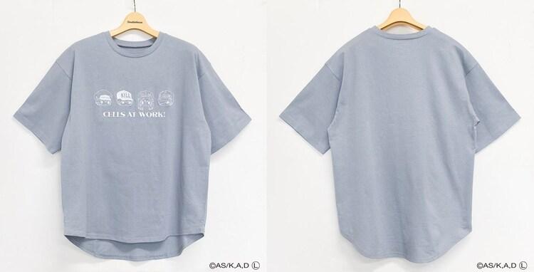 「はたらく細胞 裾ラウンドTシャツ(ブルー)」