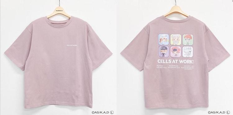 「はたらく細胞 バックプリントTシャツ(ピンク)」