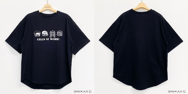 「はたらく細胞 裾ラウンドTシャツ(ブラック)」