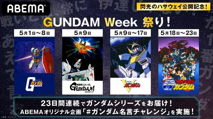 特別企画「GUNDAM Week 祭り」の告知画像。