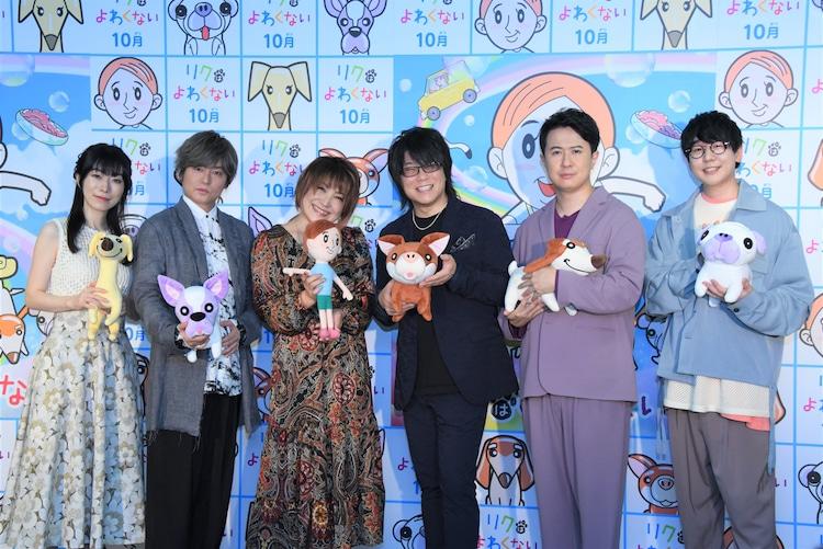 左から浅野真澄、森久保祥太郎、松本梨香、森川智之、杉田智和、花江夏樹。