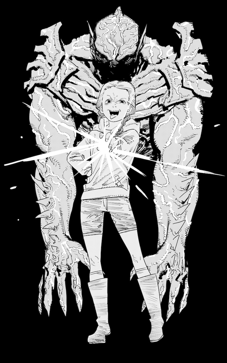 藤本タツキが描き下ろした、映画「サイコ・ゴアマン」のイラスト。