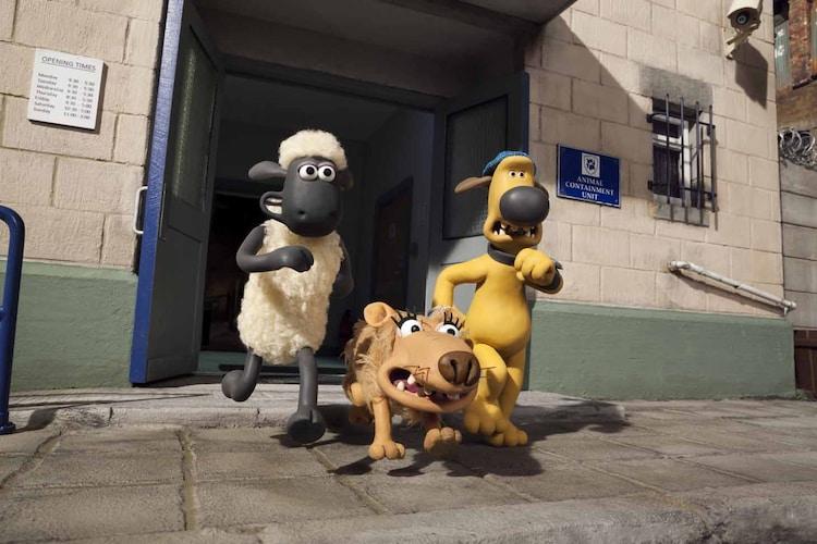 左から、ショーン、新キャラのスリップ、ビッツァー。(c) 2014 Aardman Animations Limited and Studiocanal S.A.