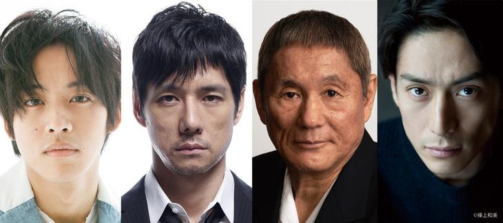 「劇場版 MOZU」キャスト。左から松坂桃李、西島秀俊、ビートたけし、伊勢谷友介。
