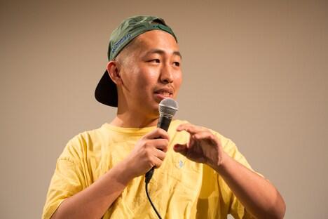 5月28日に行われた「THE COCKPIT」の公開記念イベントにて、監督の三宅唱。