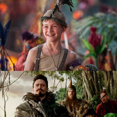 「PAN ~ネバーランド、夢のはじまり~」より、上段がピーター役のリーヴァイ・ミラー、下段が黒ひげ役のヒュー・ジャックマン。(c)2015 WARNER BROS. ENTERTAINMENT INC. AND RATPAC-DUNE ENTERTAINMENT LLC