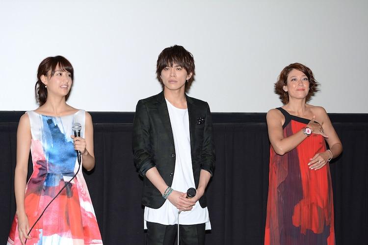 「東京PRウーマン」の一般完成披露試写会の様子。左から、山本美月、山本裕典、LiLiCo。