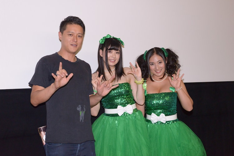 「闇金ドッグス」スペシャルナイトにて、左から土屋哲彦、冨手麻妙、紗綾。