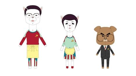 「紙兎ロぺ」に登場する「ギャラクシー街道」のキャラクター。左からノア、ノエ、三谷本部長。(c)紙兎ロぺプロジェクト 2015/フジテレビジョン
