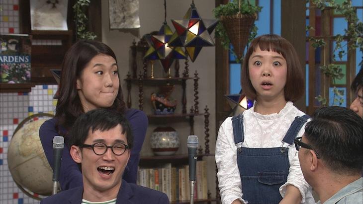 女ピン芸人同士のバトルが勃発した横澤夏子と中村涼子(後列左から)。(c)日本テレビ