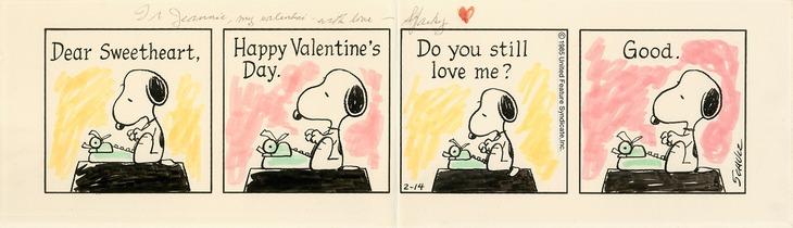 チャールズ M. シュルツがバレンタインデーに夫人ジーン・シュルツへ贈った「ピーナッツ」原画。 (c)Peanuts Worldwide LLC