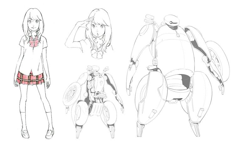 「ひるね姫 ~知らないワタシの物語~」より森川ココネ(左)、ハーツ(右)のデザイン画。
