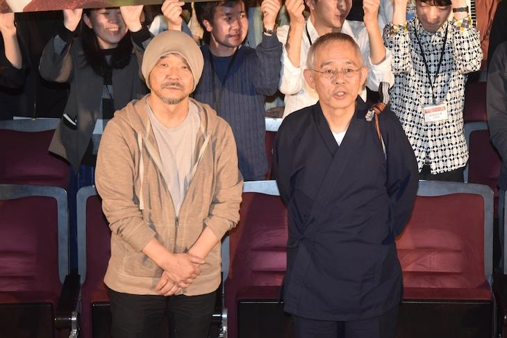 特別講義「映画のすべて マスター・オブ・シネマ」の様子。左から押井守、鈴木敏夫。
