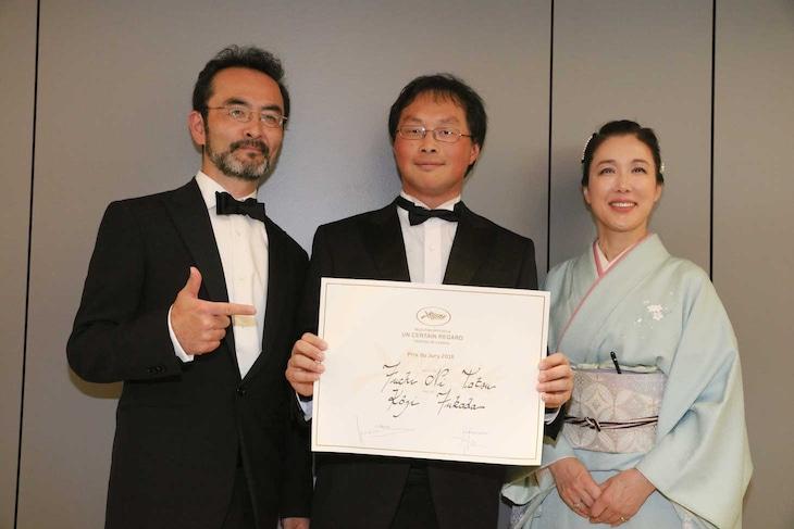 第69回カンヌ国際映画祭にて、左から古舘寛治、深田晃司、筒井真理子。(c)Kazuko Wakayama