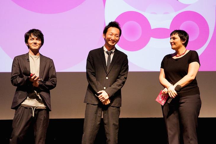 ニッポン・コネクションの舞台挨拶に登壇した林遣都(左)と波岡一喜(中央)。