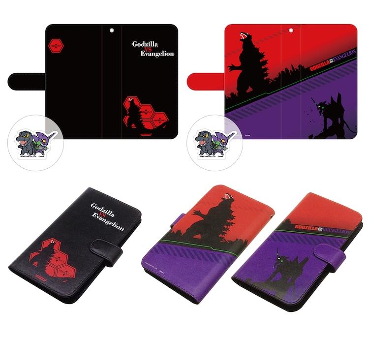 「ゴジラ対エヴァンゲリオン」クリーナー付き手帳型スマートフォンケース 全2種(各4320円)