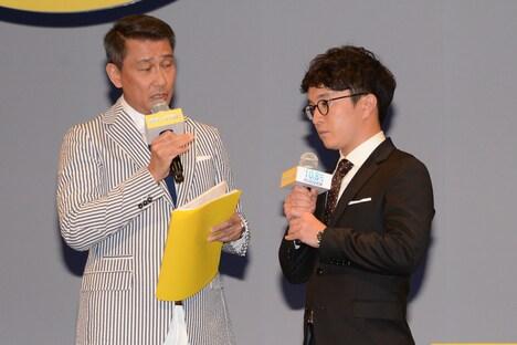 「中井貴一さんの社会性の無さが……」とぼやく濱田岳(右)と、同調する「グッドモーニングショー」の主人公・澄田真吾(左)。