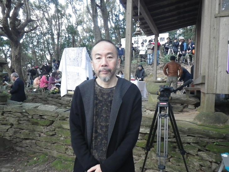 枯松神社祭に参加した塚本晋也。