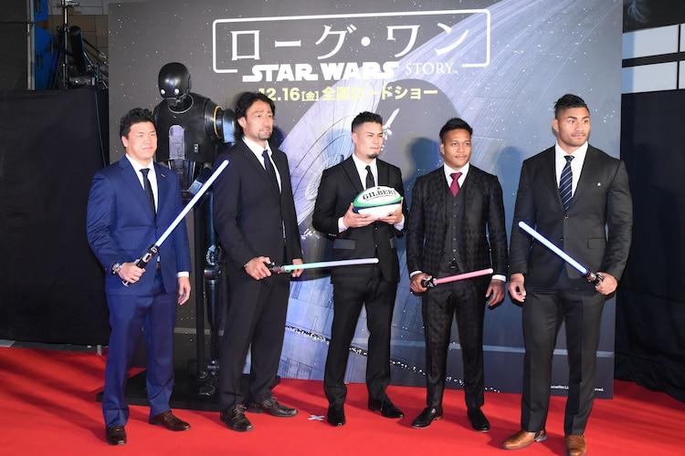 日本人ゲストのラグビー日本代表選手たち。