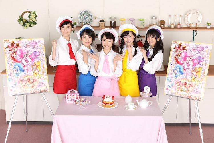 「キラキラ☆プリキュアアラモード」のキャスト陣。左から森なな子、村中知、美山加恋、福原遥、藤田咲。
