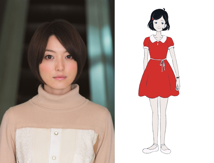 """左から花澤香菜、""""黒髪の乙女""""のキャラクター画像。"""