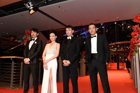 第67回ベルリン国際映画祭にて、左から青柳翔、イレブン・ヤオ、チャン・チェン、SABU。