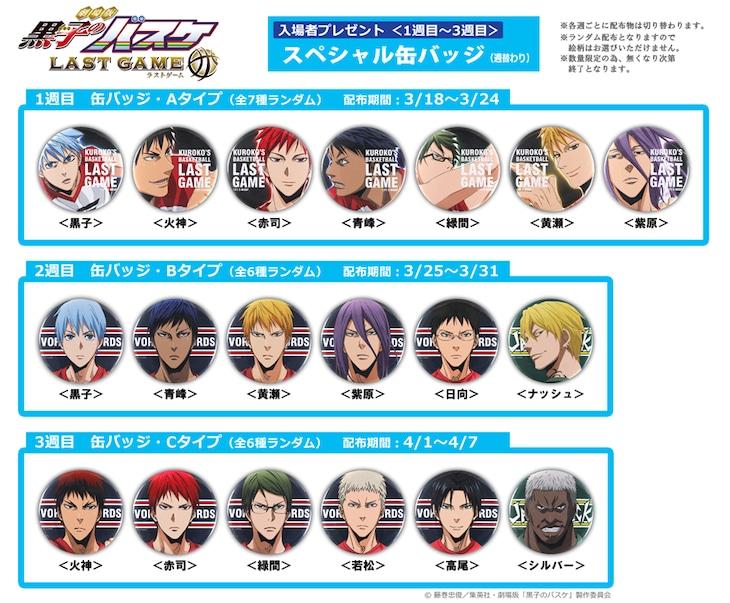 「劇場版 黒子のバスケ LAST GAME」1週目から3週目の入場者プレゼント。