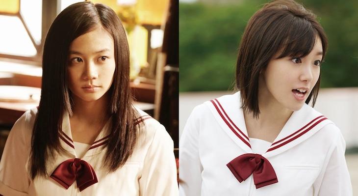 「暗黒女子」より、清水富美加演じる澄川小百合(左)、飯豊まりえ演じる白石いつみ(右)。