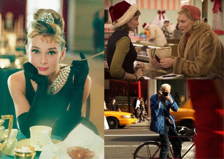 「ファッション・イン・ニューヨーク」上映作品。「ティファニーで朝食を」(左)、「キャロル」(右上)、「ビル・カニンガム&ニューヨーク」(右下)。