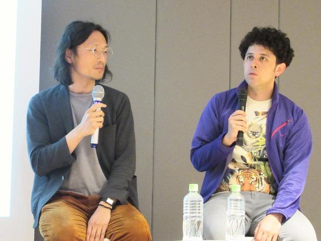 「TSUTAYA CREATORS' PROGRAM FILM 2017」トークイベント。左から中江和仁、ヤング ポール。