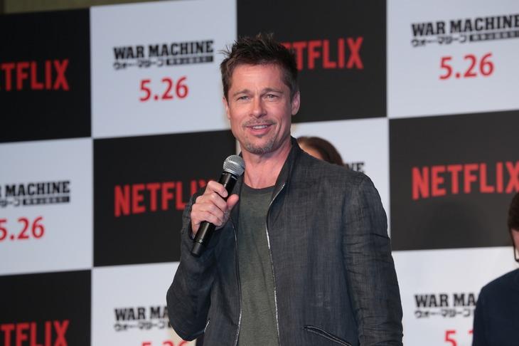 2017年5月、Netflixオリジナル映画「ウォー・マシーン:戦争は話術だ!」のプロモーションで来日したブラッド・ピット。