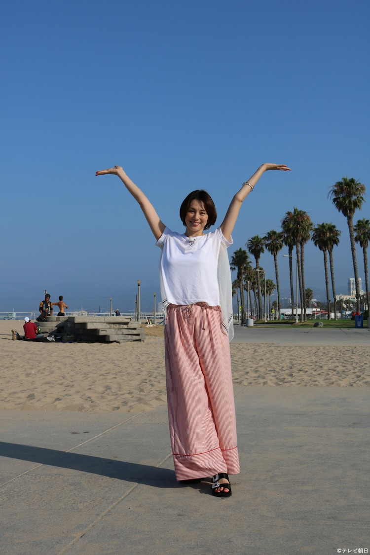 アメリカ・ロサンゼルスで行われた取材会に参加した米倉涼子。