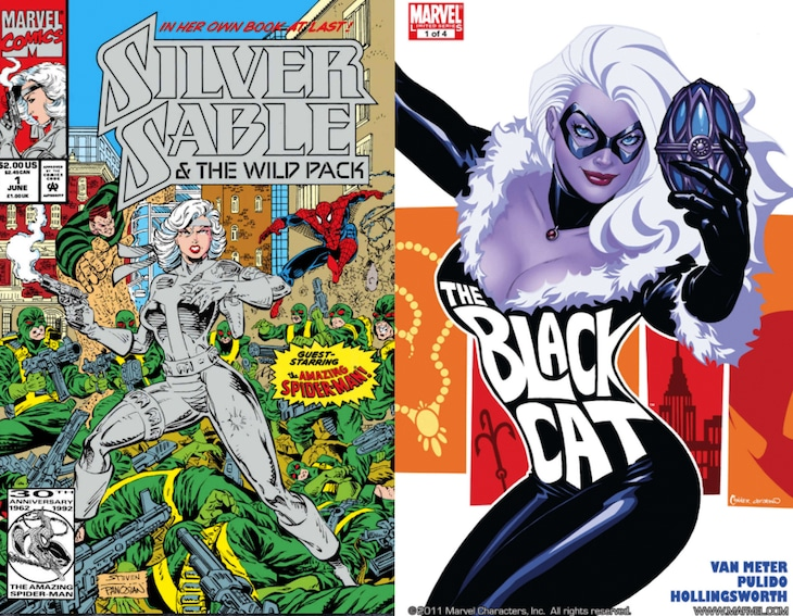 「Silver Sable & The Wild Pack (1992-1995) #1」表紙(左)と「Amazing Spider-Man Presents: Black Cat #1」表紙(右)。
