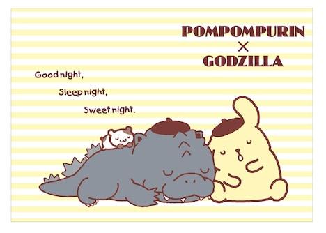 ポムポムプリンとゴジラのコラボアート。(c)1976,1996,2017 SANRIO CO.,LTD. TM& (c) TOHO CO., LTD.