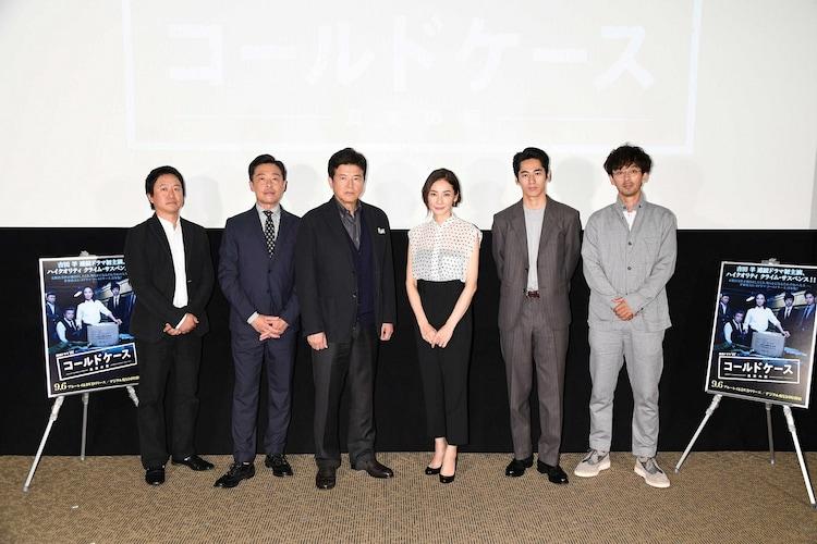 左から波多野貴文、光石研、三浦友和、吉田羊、永山絢斗、滝藤賢一。