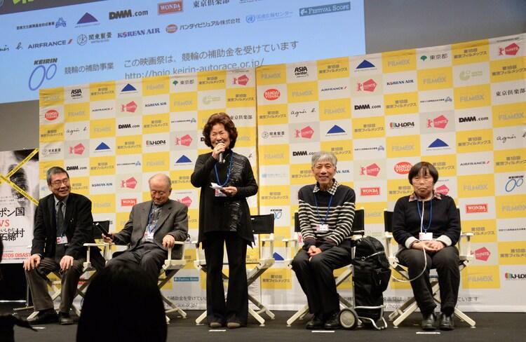 トークイベントの様子。左から原一男、柚岡一禎氏、佐藤美代子氏、志野善紹氏、石川ちう子氏。