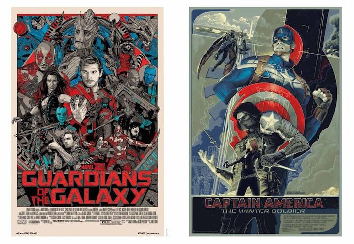 「MONDO 映画ポスターアート集」中面より、「ガーディアンズ・オブ・ギャラクシー」(左)、「キャプテン・アメリカ/ウィンター・ソルジャー」(右)。